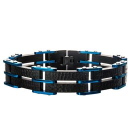 Inox Stainless Steel Black and Blue Plated Hammered Link Bracelet
