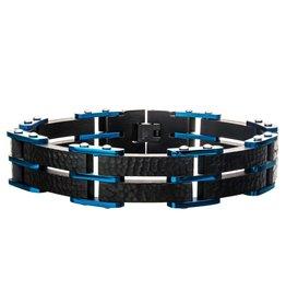 Inox Steel Black and Blue Hammered Link Bracelet
