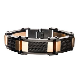 Inox Stainless Steel Black and Rose Plated  3-Layer XL Chunky Cable Link Bracelet