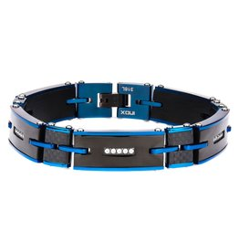 Inox Carbon Graphite with Blue Tone and CZ Link Bracelet