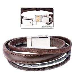 Inox Multi Genuine Brown Leather in Black Hematite IOS USB Bracelet
