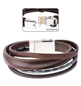 Inox Steel Multi Genuine Brown Leather IOS USB Bracelet with Black Hematite