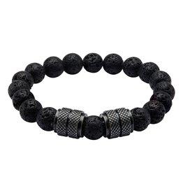 Black Plated and Black Lava Beads Bracelet
