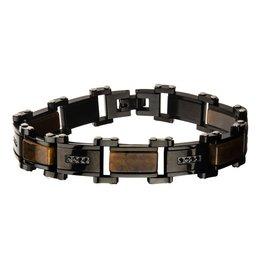 Inox Tiger Eye with Black CZ Black Plated Link Bracelet