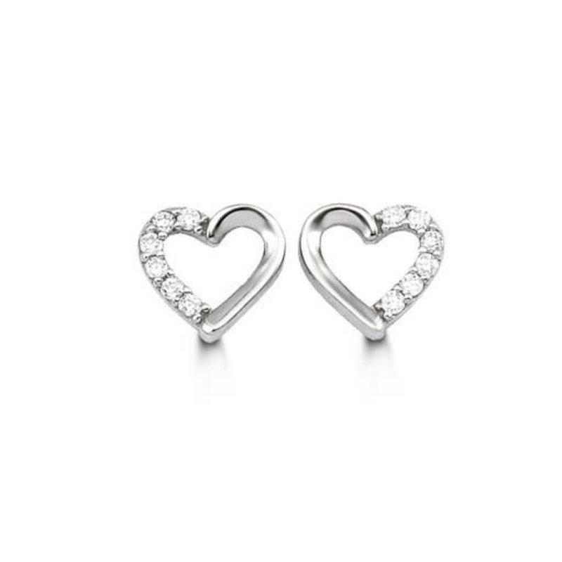 White Gold CZ Heart Stud Earrings