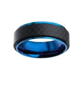 Inox Steel Blue Plated and Black Solid Carbon Fiber Ring