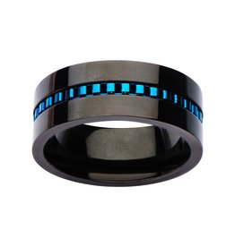 Inox Black Plated with Blue Plated Interconnected Link Polished Ring