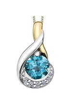 Yellow and White Gold Blue Topaz and Diamond Pendant