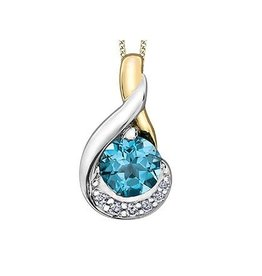 Blue Topaz & Diamond Pendant Two Tone