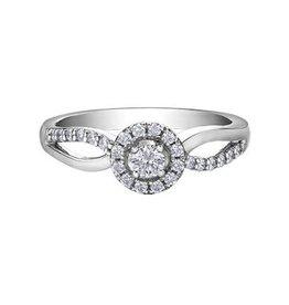I am Canadian 10K White Gold (0.30ct) Canadian Diamond Halo Engagement Ring