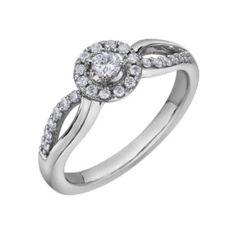 I am Canadian 10K White Gold (0.30ct) Halo Canadian Diamond Ring