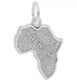 Nuco Silver Rhodium Plated Map of Africa Charm Pendant