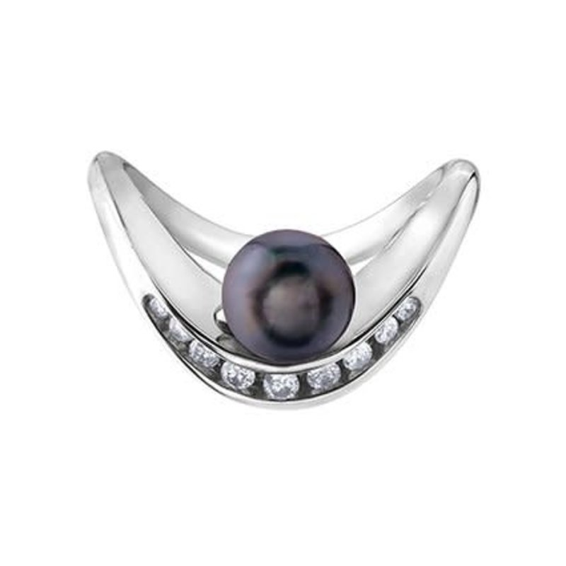 White Gold (0.14ct) Black Pearl and Diamond Ring