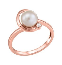 Fire and Ice Rose Gold Pearl and (0.025ct) Canadian Diamond Ring