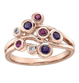 Rose Gold Pink Tourmaline, Amethyst & Diamond Ring