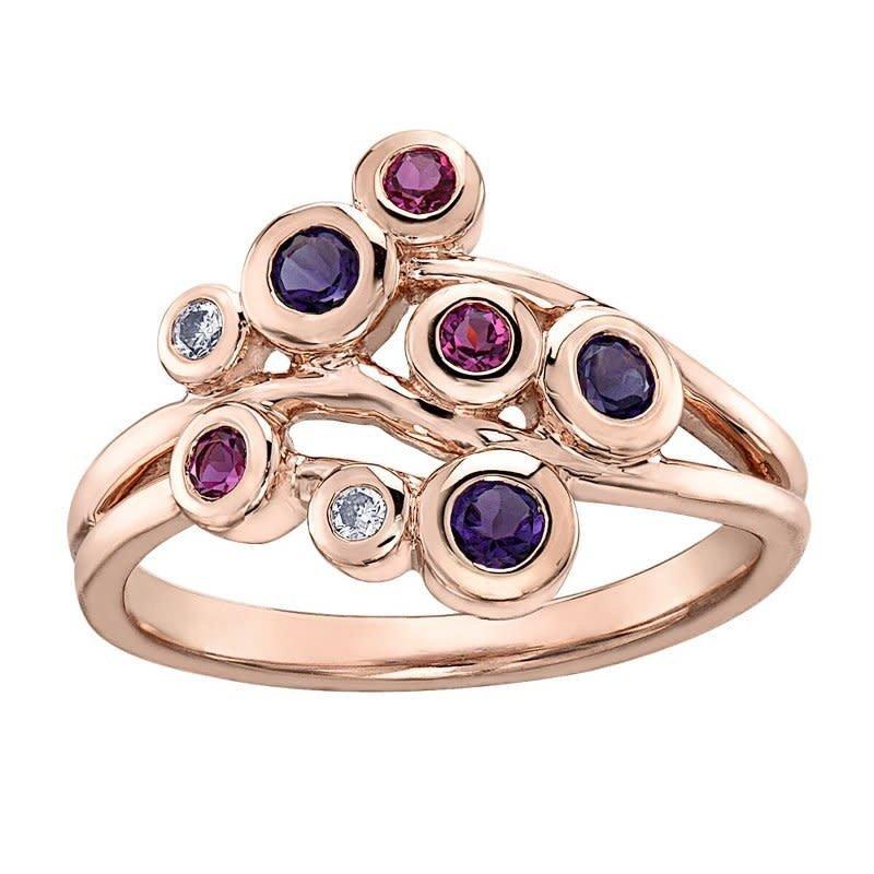 Rose Gold Pink Tourmaline, Amethyst & Diamond Ring
