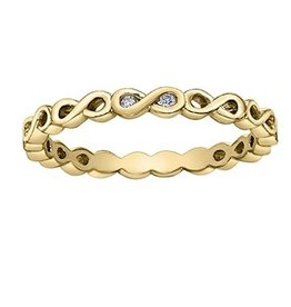 Yellow Gold Infinity (0.015ct) Diamond Stackable Ring