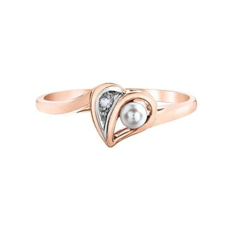 Rose and White Gold (0.005ct) Pearl and Diamond Heart Ring