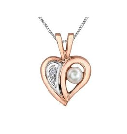 Heart Pearl and Diamond, Rose and White Gold Pendant