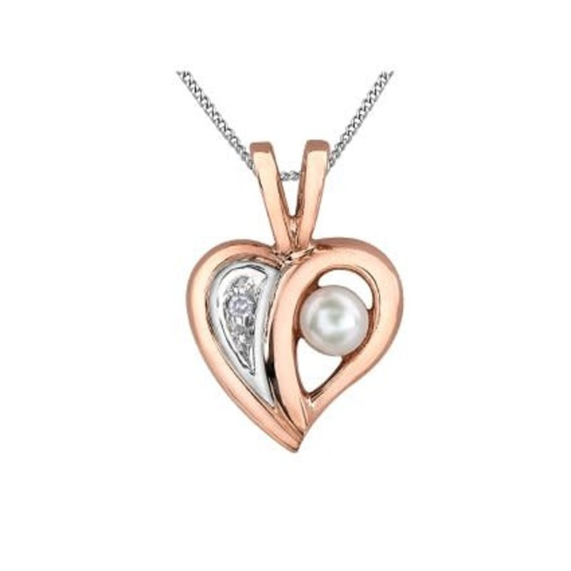 Rose and White Gold (0.005ct) Pearl and Diamond Heart Pendant