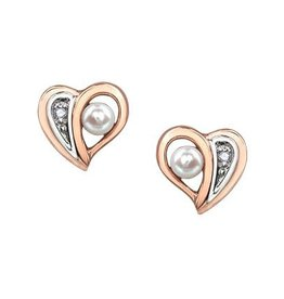 Rose and White Gold (0.005ct) Pearl and Diamond Heart Earrings
