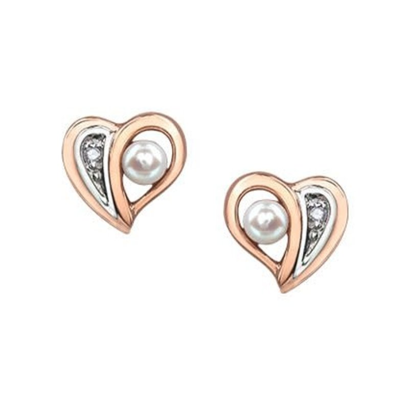 10K Rose and White Gold Pearl and Diamond Heart Stud Earrings