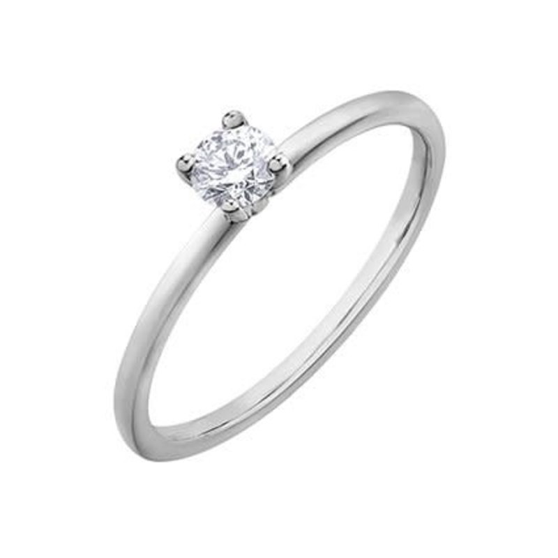 10K White Gold (0.20ct) Canadian Diamond Solitare Ring