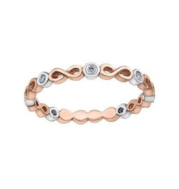 Stackable Infinity Diamond Rose and White Gold Band