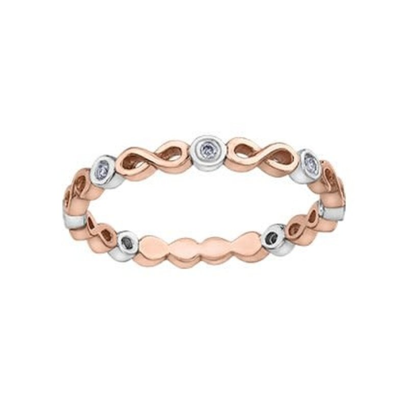 10K Rose and White Gold (0.05ct) Diamond Stackable Infinity Band