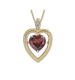 Garnet & Diamond Yellow Gold Pendant
