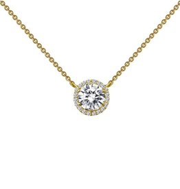 Lafonn Lafonn Halo Necklace Simulated Diamond Yellow Gold Bonded
