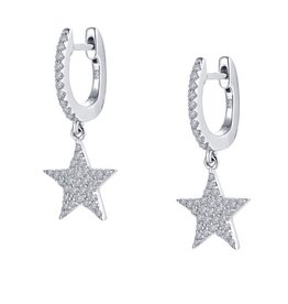 Lafonn Dangling Stars Lassaire Simulated Diamond Platinum Bonded Sterling Silver Earrings