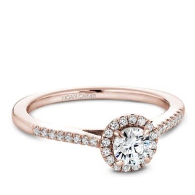 Halo Ring0 Gold Diamond Rose Noam 33ct14k Carver 2EIDH9W
