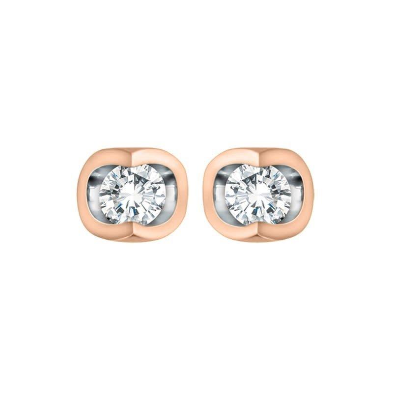 10K Rose Gold (0.06ct) Diamond Half Moon Stud Earrings