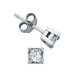 I am Canadian Princess Cut Canadian Diamond (0.10ct) White Gold Earrings