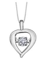 Forever Jewellery 10K White Gold (0.02ct) Dancing Diamond Heart Pendant