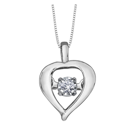 Forever Jewellery White Gold (0.02ct) Dancing Diamond Heart Pendant