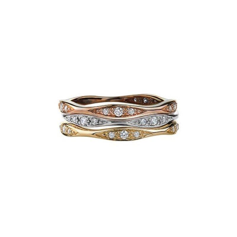 10K White Gold (0.10ct) Diamond Stackable Wedding Band