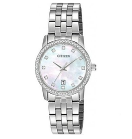 Citizen Ladies Quartz Watch with Crystals and Mother of Pearl Dial