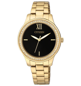 Citizen Gold Tone Watch with Black Dial Quartz and Crystals