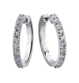 10K White Gold (1.50ct) Diamond Hoop Earrings