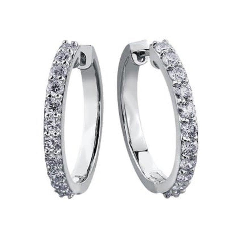10K White Gold (1.50ct) Diamond Hoop Earrings