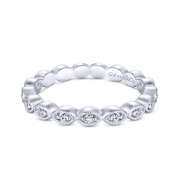 Gabriel & Co Gabriel & Co 14K White Gold Marquise Station Diamond Eternity Stackable Ring