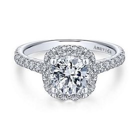 Gabriel & Co Gabriel & Co 18K White Gold Round Halo Diamond Mount Engagement Ring
