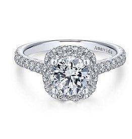 Gabriel & Co Gabriel & Co Adele 18K White Gold Round Halo Diamond Semi Mount Engagement Ring