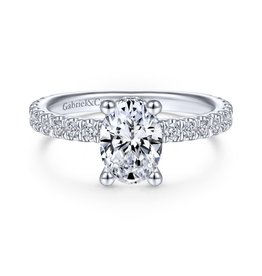 Gabriel & Co Gabriel & Co Alina 14K White Gold Oval Diamond Hidden Halo  Semi Mount Engagement Ring