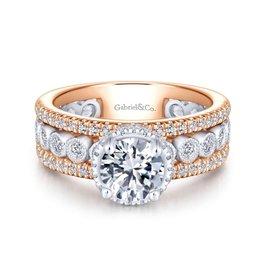 Gabriel & Co Gabriel & Co Ethel 14K Rose and White Gold Round Halo Diamond Semi Mount Engagement Ring