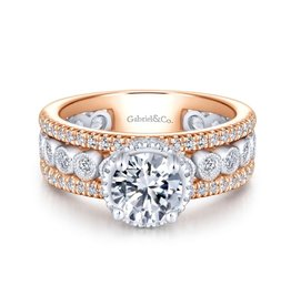 Gabriel & Co Gabriel & Co Ethel 14K White and Rose Gold Diamond Semi Mount Ring