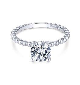Gabriel & Co Gabriel & Co Athena 14K White Gold Hidden Halo Round Diamond Semi Mount Engagement Ring