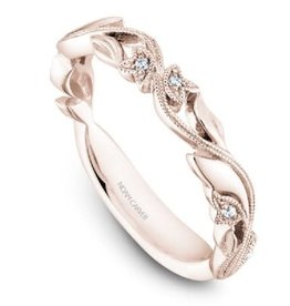 Stackable Diamond Band Rose Gold Climbing Leaves